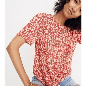 Madewell Crinkled Button-back Tie Tee